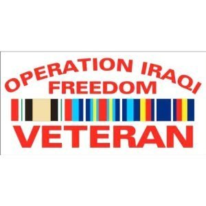 (Operation Iraqi Freedom Campaign Ribbon Veteran - Window Decal Sticker )