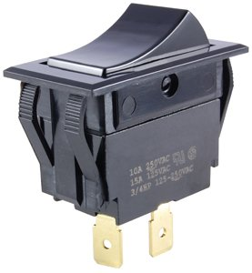 NTE Electronics 54-048 Nylon Snap-in Rocker Switch, SPDT Circuit, ON-None-ON Action, Black Nylon Actuator, 0.250