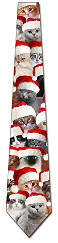 Cat Ties Mens Kitty Christmas Neckties Santa Cats by Three Rooker