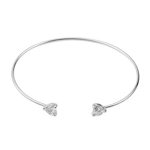 blackbox Jewelry Sterling Silver Heart Shape Edges White Cubic Zirconia Bracelet