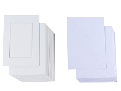 Photo Insert Note Cards - 48-Pack Paper Picture Frames Cards and Envelopes - Elegant White Paper Photo Mats, Perfect for Inserting and Sending Memorable Documents - White, Holds 4 x (Sending Kit)