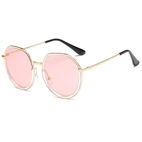 Soleil en Frame Pink métal Gold Lunettes lentille rétro LiShihuan 400 Frame Demi colorée UV la de Lens Classiques Gold Color Lens avec Le pour Cadre Femmes de Pink FE1Aqvx1z