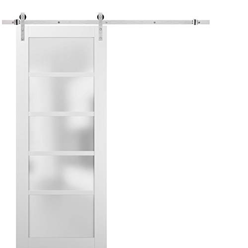 Sliding Barn Door 42 x 96 with Stainless Steel 8ft Hardware | Quadro 4002 White Silk with Frosted Opaque Glass | Top…