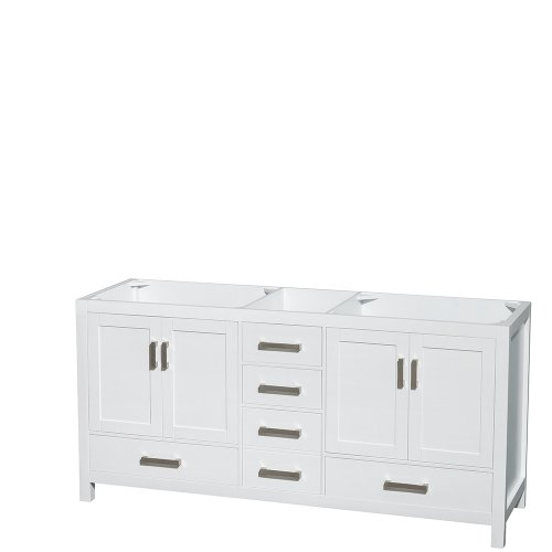 Wyndham Collection Sheffield 72 inch Double Bathroom Vanity in White, No Countertop, -