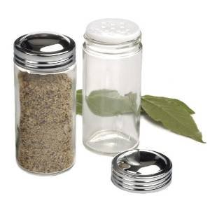 RSVP Individual Clear Glass Spice Jars - Set of 12
