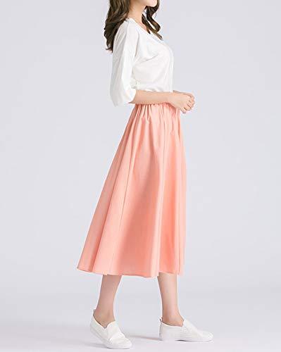 Jupe Unie Couleur T Haute Le Occasionnels Pleated Femme De Rose C Vintage sur Jupes FdTxP