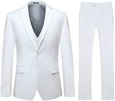 9a51ecb33 Men's Slim Fit 3 Piece Suit One Button Blazer Tux Vest & Trousers