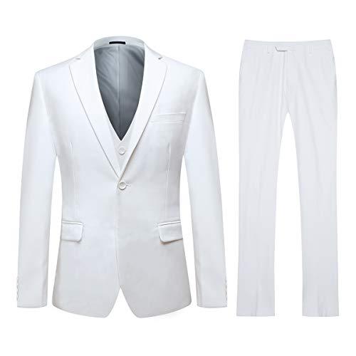 Men's Slim Fit 3 Piece Suit One Button Blazer Tux Vest & Trousers (X-Small, White)
