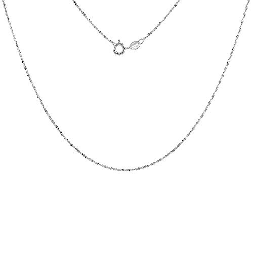 Sterling Silver Diamond Cut Twisted Serpentine Chain 1.1mm Very Thin Nickel Free Italy, 18 ()