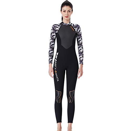 TANLANG Men Women Full Wetsuits Wetsuit Back Zip Long Sleeve for Diving Surfing Snorkeling One-Piece Wet Suit White by TANLANG (Image #4)