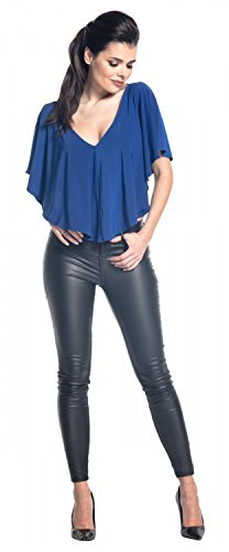 Zeta Ville - Top Plisado Sedoso Escote de Pico Mangas Murciélago - Mujer - 578z Azul Real