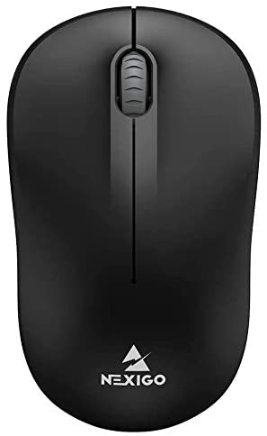 NexiGo Wireless Mouse, Portable Mobile Optical Office Mouse with USB Receiver, Travel Cordless Mouse for Notebook, PC, Laptop, Computer, MacBook (Black)