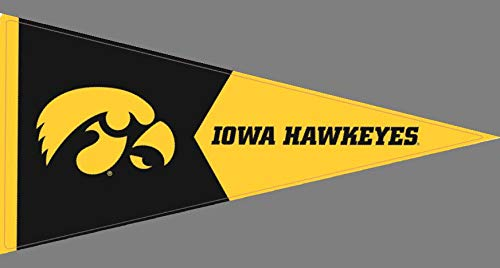 8 Inch UI Tigerhawk Logo Pennant Decal Flag University of Iowa Hawkeyes Removable Wall Sticker Art NCAA Home Room Decor 8 by 4 Inches