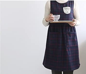 Navy Chef Works Handmade Warm Apron Japanese Style Button Shape Poly Apron-2 Colors cozymomdeco