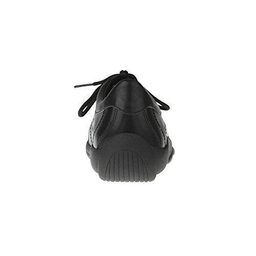 tessamino Damen Schnürer aus echtem Leder | Freizeit | Weite G & H | für Einlagen Schwarz