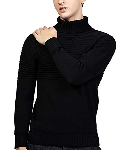 AIEOE Men's Turtle-Neck Jumper Slim Roll-Neck Jumper Polo Neck Long Sleeve Pullover Sweater Basic Black -