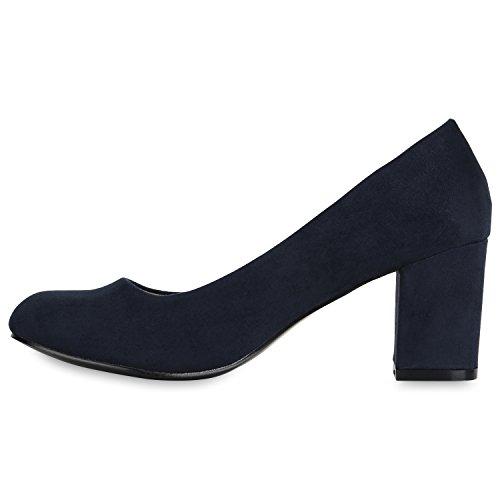 Stiefelparadies Klassische Damen Pumps Mid Heels Leder-Optik Schuhe Blockabsatz Flandell Dunkelblau