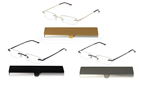(EYE-ZOOM 3 Pack Metal Rimless Reading Glasses with Spring Hinge Lightweight Slim Aluminum Case, Black, Gold and Gunmetal Reader for Comfort Fit Men and Women Choose Your Magnification +2.50 )
