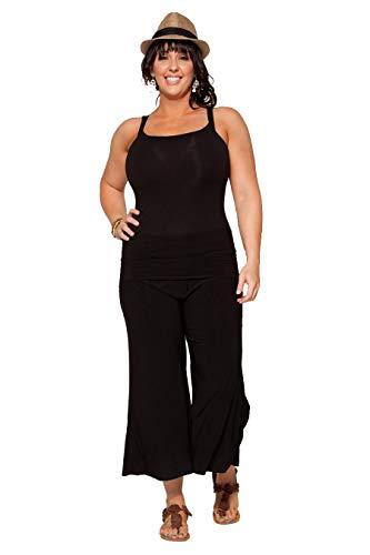 PB COUTURE CANARI Womens Plus Size Fold Over Wasitband Gaucho Capri Pants Culotte Wide Leg Black-3X