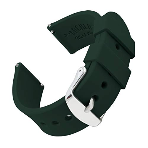 Archer Watch Straps Silicone Quick Release Soft Rubber Replacement Watch Bands for Men and Women (British Racing Green, 22mm) ()