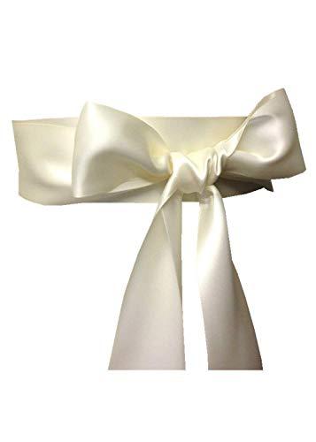 Wedding Sash Bridal Belts Simple Classic Silk Ribbon Sash for Dress (Ivory)