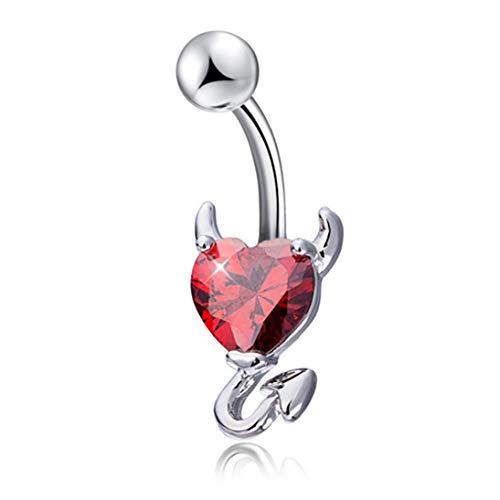 Baynne Devil Heart Zircon Piercing Navel Surgical Navel Piercing Belly Button Ring