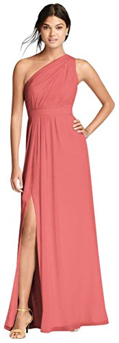 Long One-Shoulder Crinkle Chiffon Bridesmaid Dress Style F18055, Coral Reef, 12
