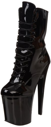 Pleaser Women's Xtreme-1020 Boot,Black Patent/Black,10 M (Pleaser Boots)