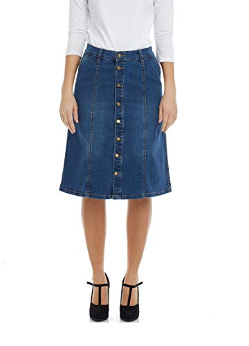 Esteez Women's Denim A-Line Skirt - Button Down Stretch Jean Chelsea Blue 16