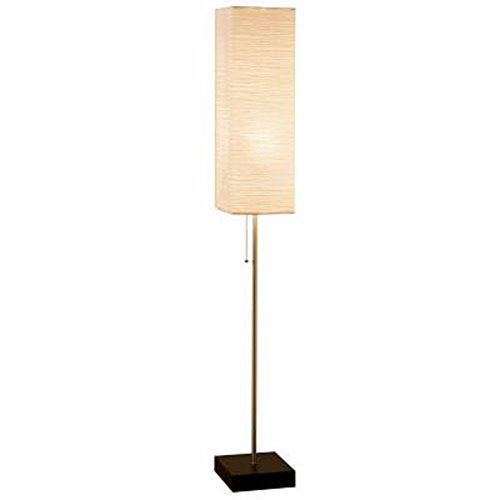 Alsy 60 In. Brushed Nickel Floor Lamp with Paper Shade and Decorative Faux Wood Base