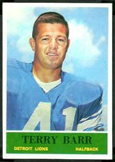 1964 Philly Gum Regular (Football) Card# 57 Terry Barr of the Detroit Lions Ex Condition