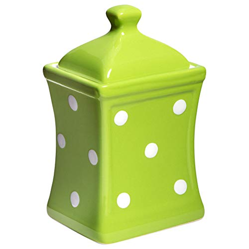 (City to Cottage Handmade Lime Green and White Polka Dot Small 5.3oz/150ml Ceramic Kitchen Herb, Spice, Storage Jar with Lid, Pottery Canister, Housewarming Gift)