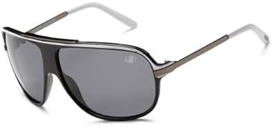Body Glove QBG1174 Polarized Sport Sunglasses,Shiny Black with White Frame/Smoke Lens,one size