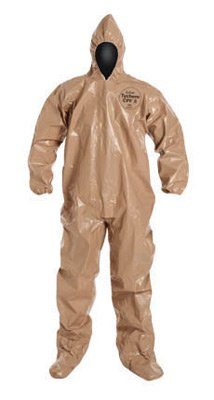 DuPont X-Large Tan Tychem(R) CPF3 Coveralls With Taped Seams, Front Zipper Closure, Elastic Wrists And Face And Attached Hood And Boots