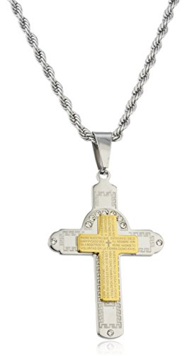 JOTW Large Stainless Steel Two-tone Cross with Spanish Text & Greek Key Design Pendant with Stones and a 24 Inch Rope Chain Necklace (H-864)
