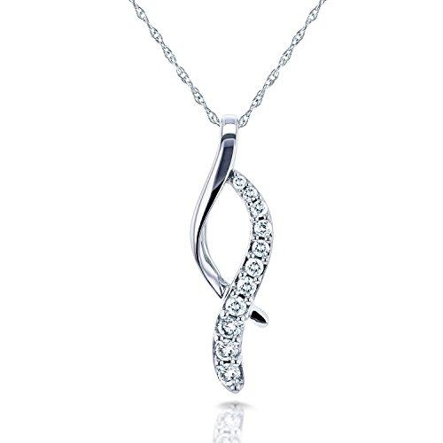 Swirl Collier Pendentif 1/5/5carats diamants ronds (ctw) en or blanc 10K (45,7cm Chaîne)