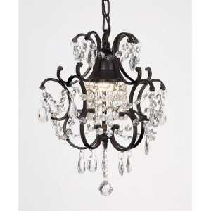CHANDELIER WROUGHT IRON CRYSTAL CHANDELIERS H14u0026quot; W11u0026quot; SWAG PLUG  IN CHANDELIER W/