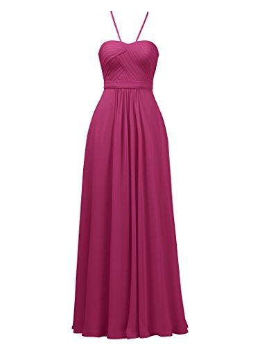 A-line Spaghetti Strap Evening Gown (Alicepub A-line Bridesmaid Dresses Spaghetti Straps Elegant Evening Prom Gown, Magenta, US0)