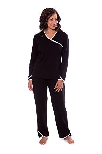 TexereSilk Women's Faux-Wrap Pajama Set - Luxury Sleepwear For Her by Texere (Oasisleep, Black, Large) Holiday Gift For Her (Holiday Luxury Set)