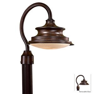 Minka Great Outdoors 8126-A188-PL Vanira Place - One Light Outdoor Post Mount, Windsor Rust Finish with White French Scavo - Outdoors Place Great Vanira