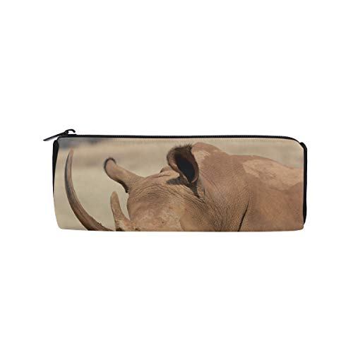 (A Black Rhinoceros Mother and Calf Students Super Large Capacity Barrel Pencil Case Pen Bag Cotton Pouch Holder Makeup Cosmetic Bag for Kids)
