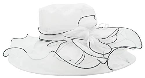 Bellady Womens Organza Ruffles Wide Brim Church Derby Hat Kentucky Tea Party Wedding Hat,White,One Size