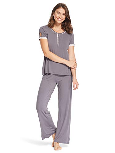 Kathy Ireland Womens 2 Piece Short Sleeve Lace Trim Henley Shirt Pajama Sleep Pants Charcoal Medium (Shirt Pants Pajamas)