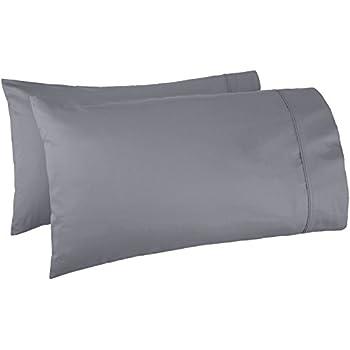AmazonBasics 400 Thread Count Cotton Pillow Cases, King, Set of 2, Dark Grey