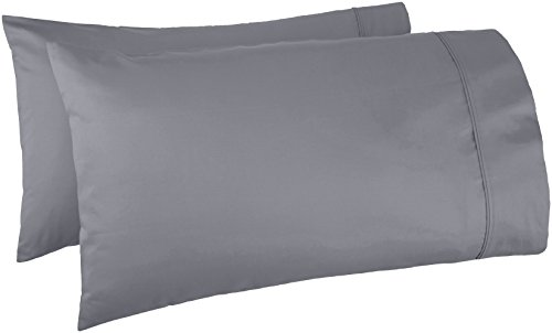 Amazon Basics 400 Thread Count Cotton Pillow Cases, King, Set of 2, Dark Gray