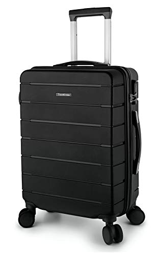 TravelCross Vermont Premium 20'' Carry On Ultra-Resistant Lightweight Spinner Luggage - Black