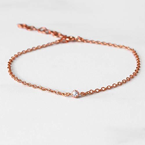 Tennis Gemstone Bracelets Gold (14k ROSE gold filled dainty cubic zirconia diamond adjustable bracelet for women, 7
