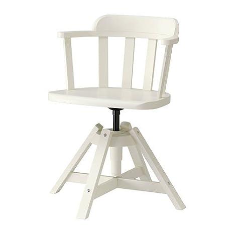 Sedie Legno Bianco Ikea.Ikea Feodor Sedia Girevole Con Braccioli In Bianco In