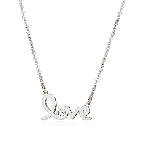 Initial 18k White Gold Pendant (Lazycat Stainless Steel 18K Rose Gold I Love You Heart Charm Script White CZ Pendant Necklace18