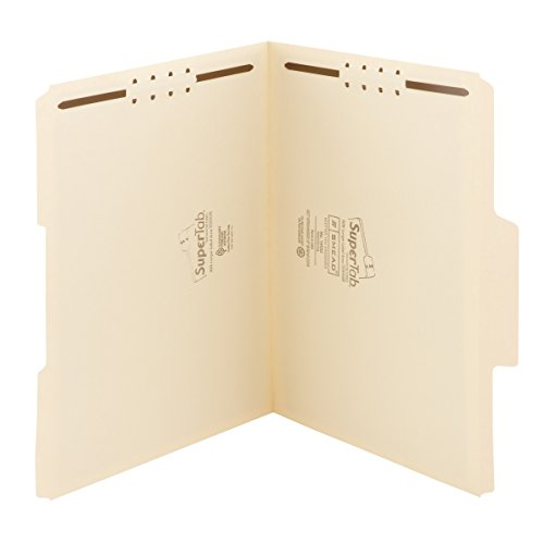 Smead SuperTab Fastener File Folder, 2 Fasteners, Oversized Reinforced 1/3- Cut Tab, Guide Height, Letter Size, Manila , 50 each per Box (14535)